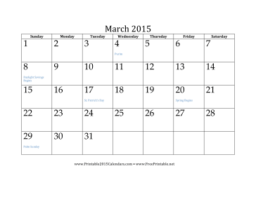 printable march 2015 calendar