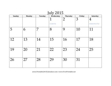 printable 2015 monthly calendar template