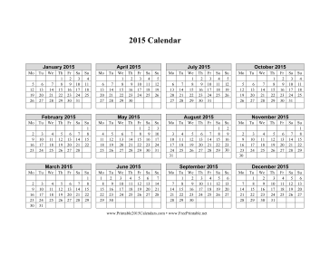 2015 Calendar on one page (horizontal, week starts on Monday) Calendar