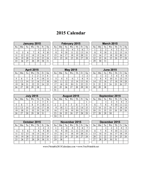 2015 Calendar on one page (vertical grid) Calendar
