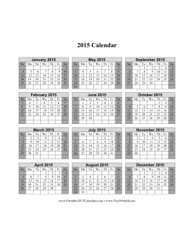 Printable 2015 Calendar On One Page Vertical Shaded
