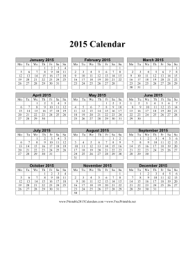 one year calendar 2015