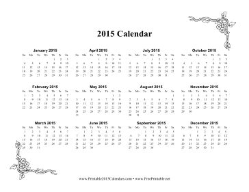 2015 One Page Calendar With Flowers Calendar