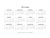 2015 Calendar on one page (horizontal, holidays in red) calendar